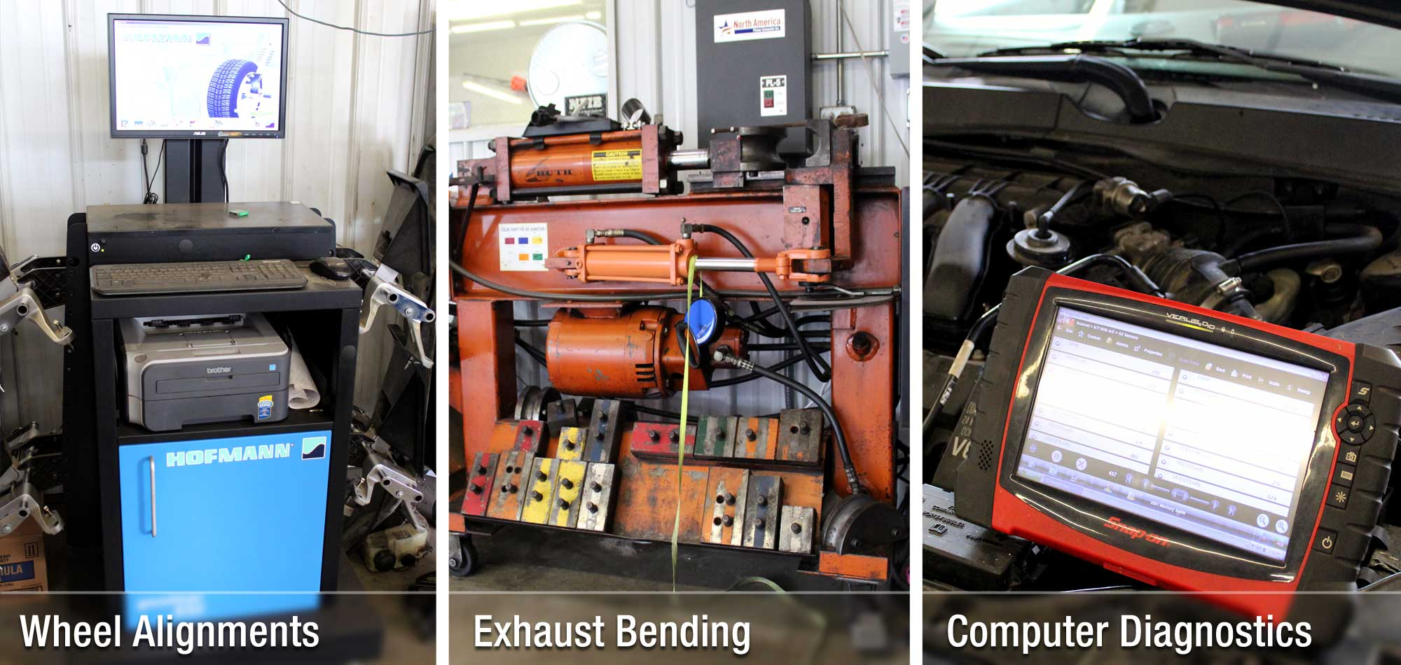 Collage of auto equipment at Murphy's Auto Center - Wheel Alignment machine, exhaust bending machine, engine diagnostic tools